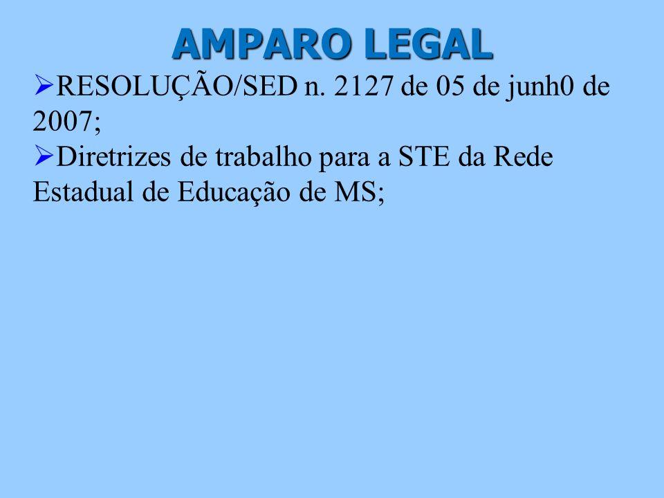AMPARO LEGAL RESOLUÇÃO/SED n. 2127 de 05 de junh0 de 2007;