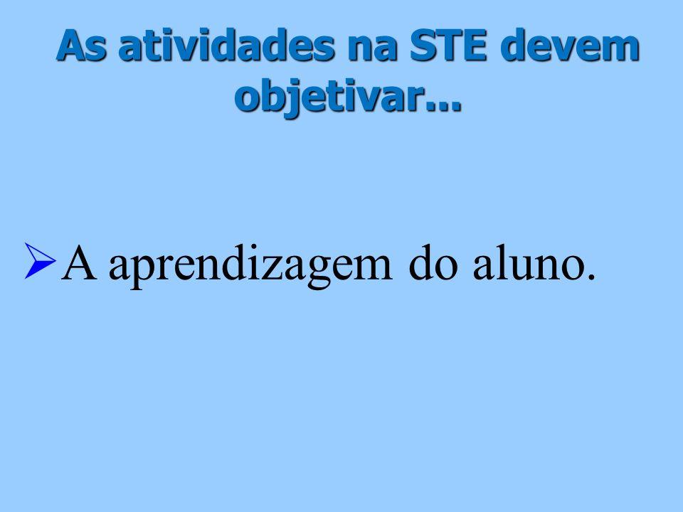 As atividades na STE devem objetivar...