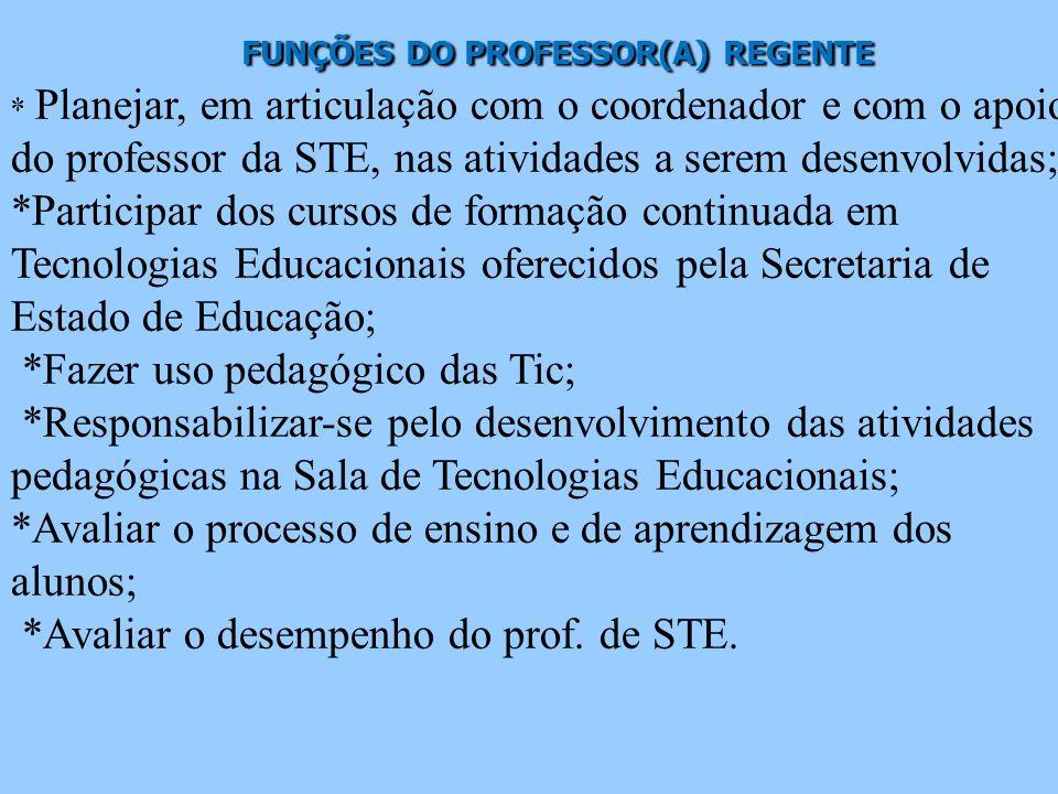 FUNÇÕES DO PROFESSOR(A) REGENTE
