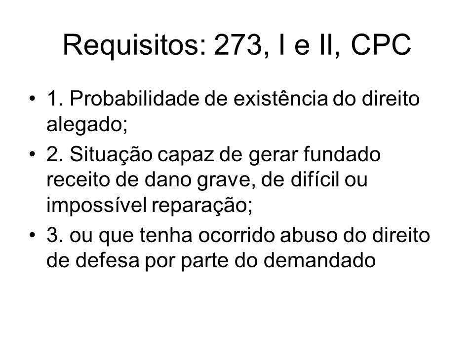 Requisitos: 273, I e II, CPC 1. Probabilidade de existência do direito alegado;