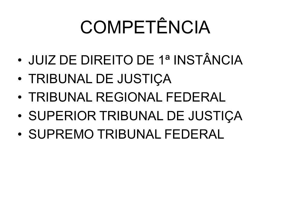 COMPETÊNCIA JUIZ DE DIREITO DE 1ª INSTÂNCIA TRIBUNAL DE JUSTIÇA