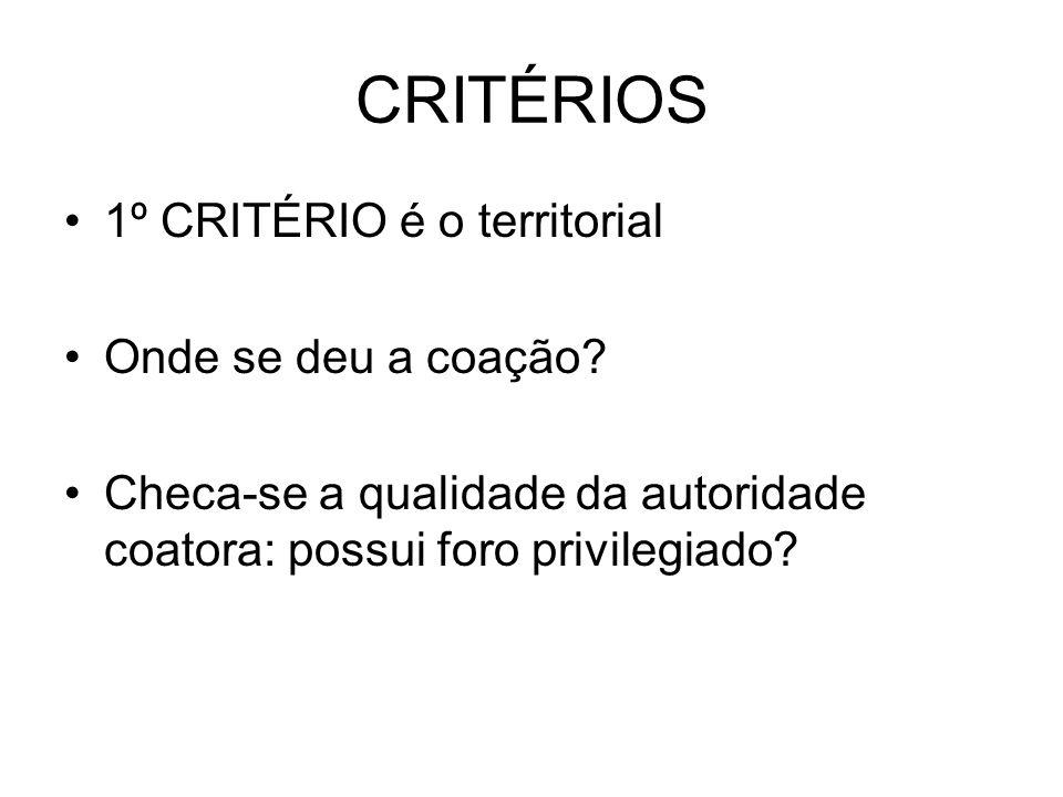 CRITÉRIOS 1º CRITÉRIO é o territorial Onde se deu a coação