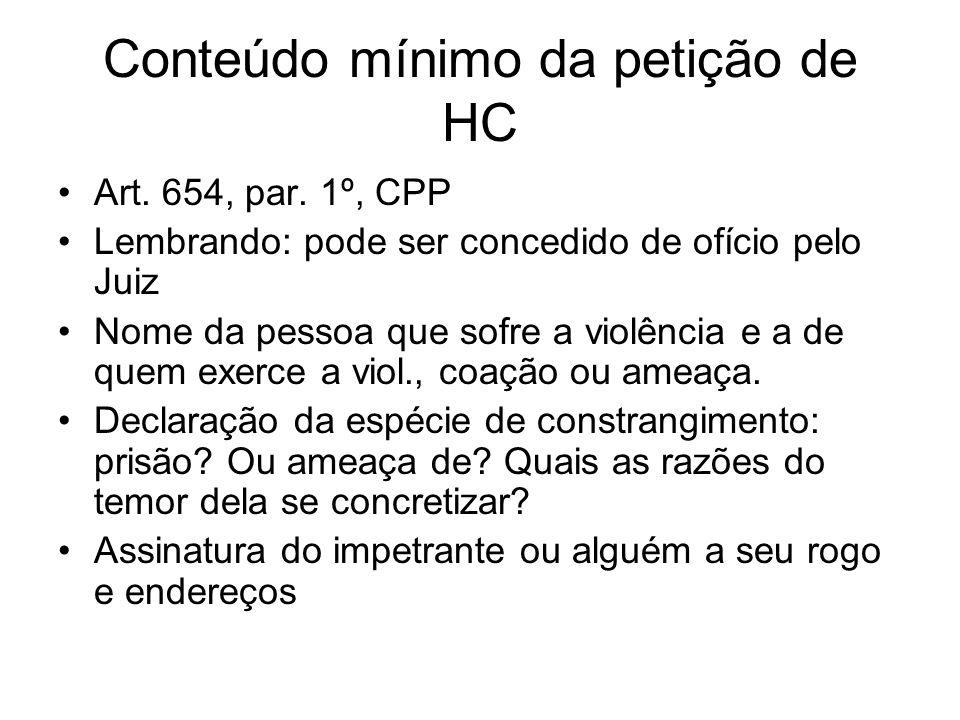 Conteúdo mínimo da petição de HC