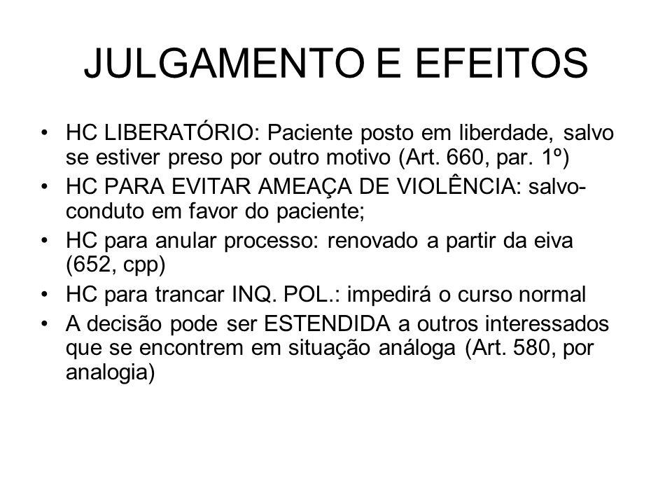JULGAMENTO E EFEITOS HC LIBERATÓRIO: Paciente posto em liberdade, salvo se estiver preso por outro motivo (Art. 660, par. 1º)