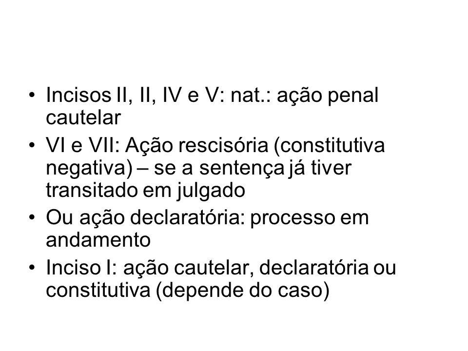 Incisos II, II, IV e V: nat.: ação penal cautelar
