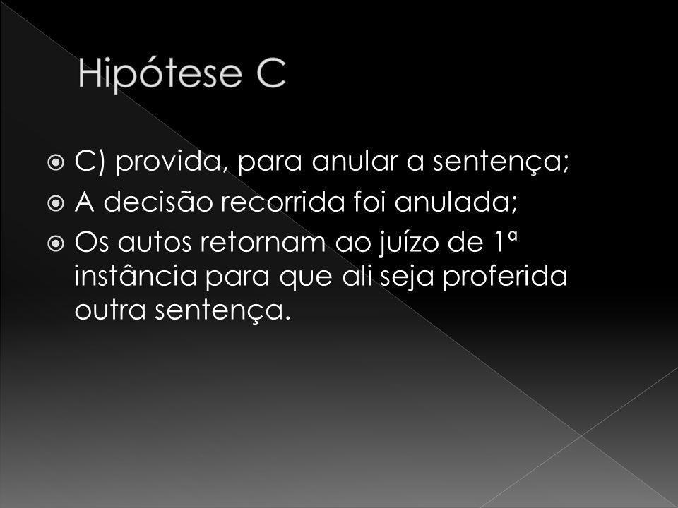 Hipótese C C) provida, para anular a sentença;