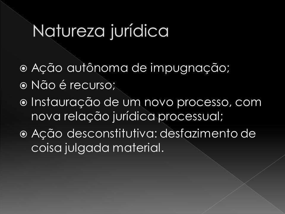 Natureza jurídica Ação autônoma de impugnação; Não é recurso;