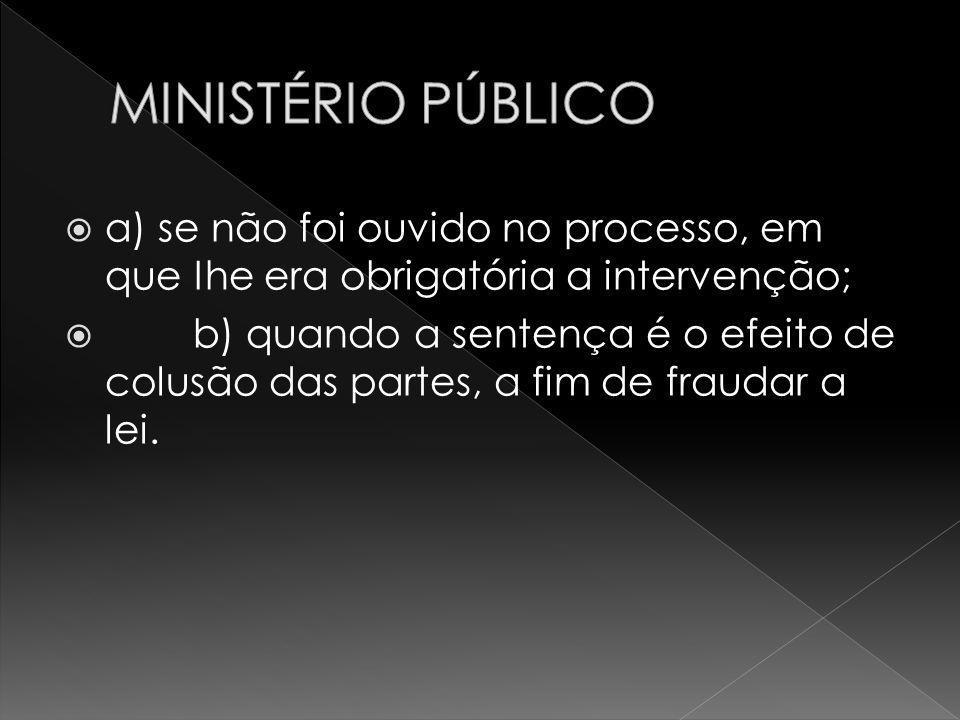 MINISTÉRIO PÚBLICO a) se não foi ouvido no processo, em que Ihe era obrigatória a intervenção;