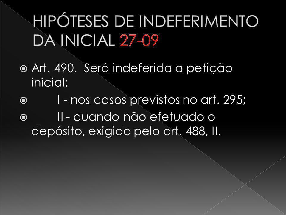 HIPÓTESES DE INDEFERIMENTO DA INICIAL 27-09