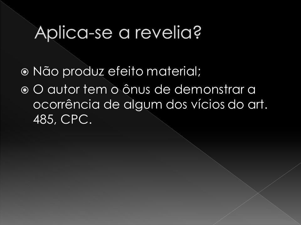 Aplica-se a revelia Não produz efeito material;