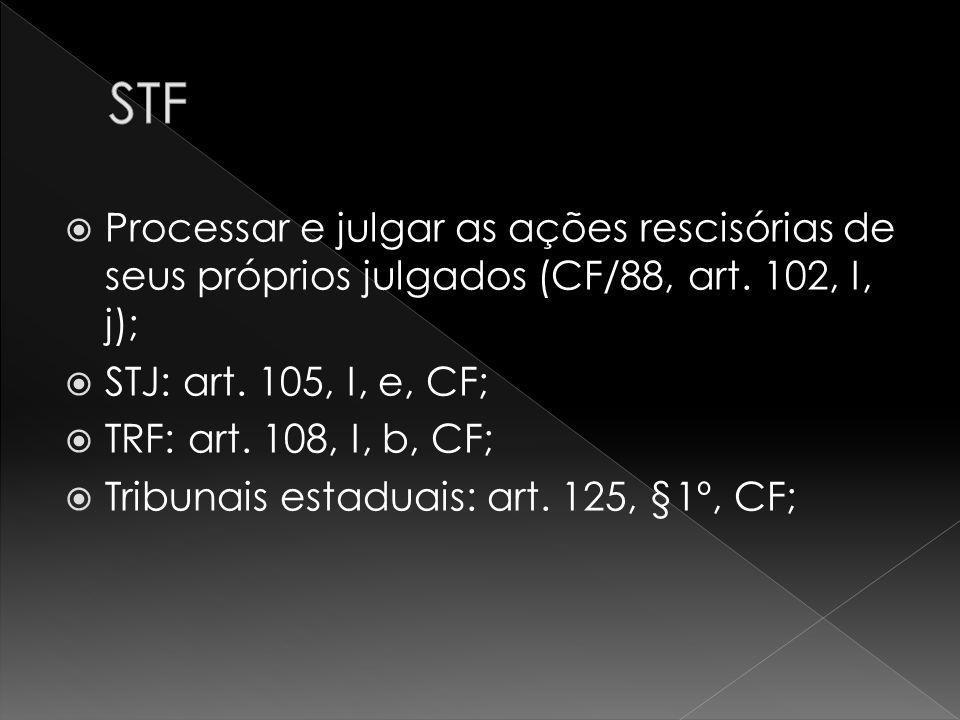 STF Processar e julgar as ações rescisórias de seus próprios julgados (CF/88, art. 102, I, j); STJ: art. 105, I, e, CF;