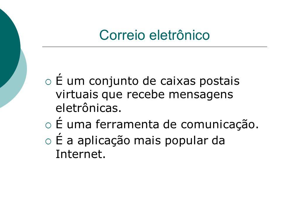Correio eletrônico É um conjunto de caixas postais virtuais que recebe mensagens eletrônicas. É uma ferramenta de comunicação.