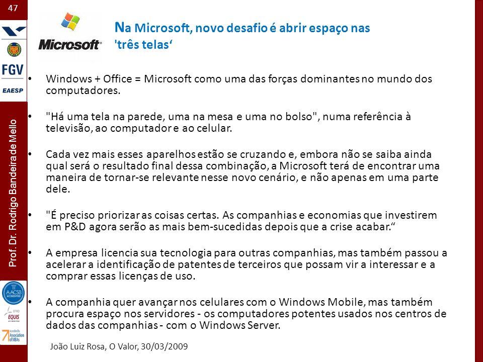 Na Microsoft, novo desafio é abrir espaço nas três telas'