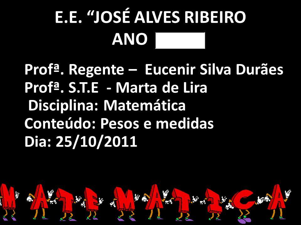 E.E. JOSÉ ALVES RIBEIRO ANO Profª. Regente – Eucenir Silva Durães