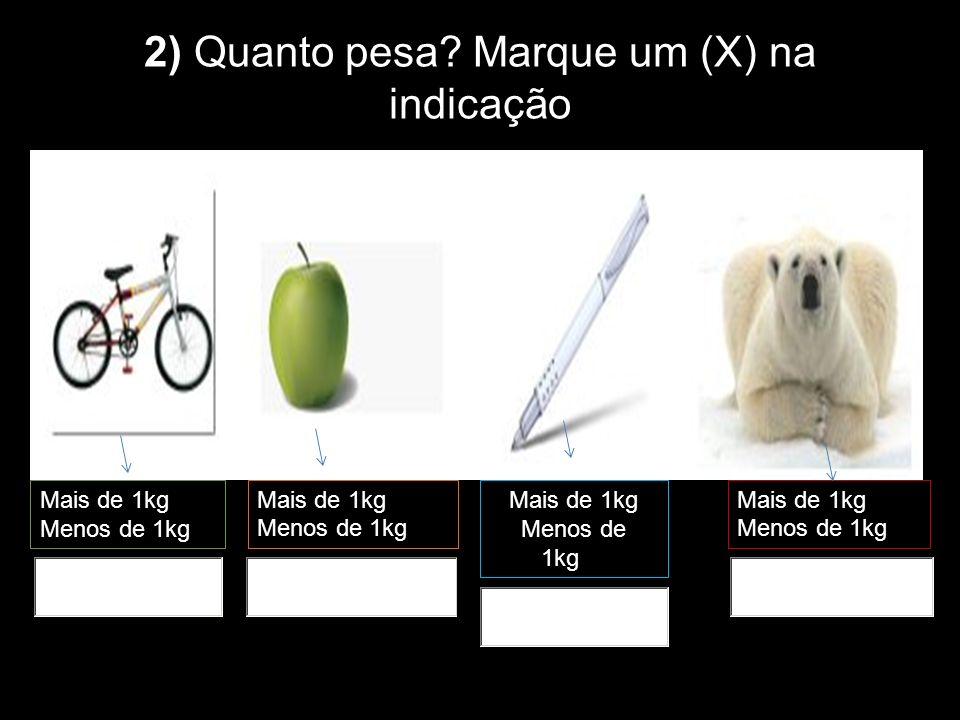 2) Quanto pesa Marque um (X) na indicação correta: