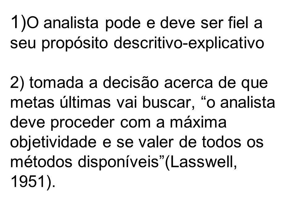 1)O analista pode e deve ser fiel a seu propósito descritivo-explicativo 2) tomada a decisão acerca de que metas últimas vai buscar, o analista deve proceder com a máxima objetividade e se valer de todos os métodos disponíveis (Lasswell, 1951).