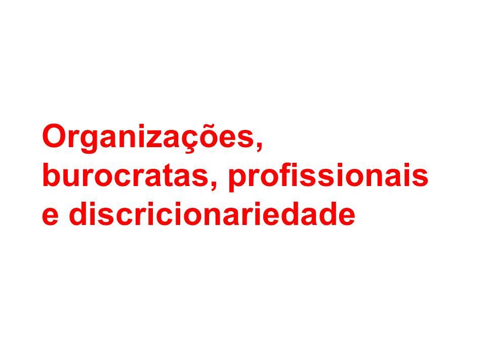 Organizações, burocratas, profissionais e discricionariedade
