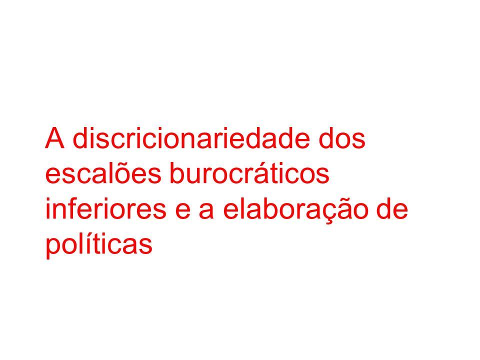 A discricionariedade dos escalões burocráticos inferiores e a elaboração de políticas