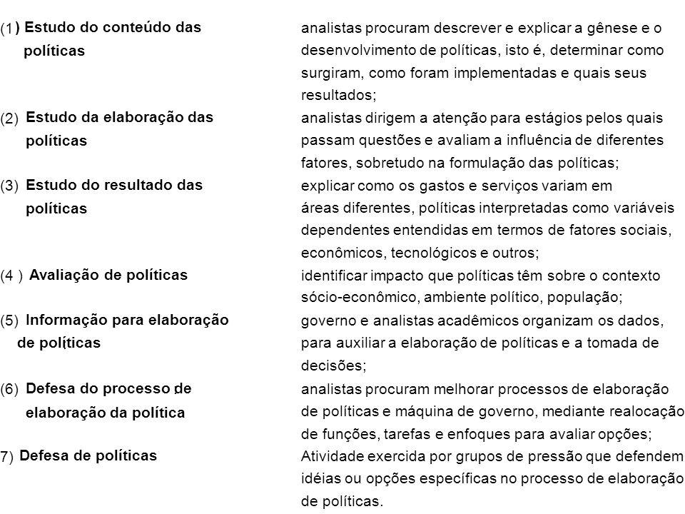 (1 ) Estudo do conteúdo das. políticas. analistas procuram descrever e explicar a gênese e o.