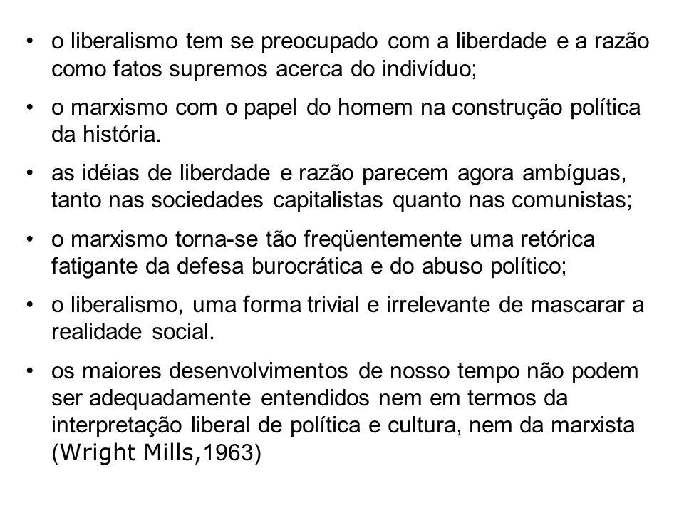 o liberalismo tem se preocupado com a liberdade e a razão como fatos supremos acerca do indivíduo;
