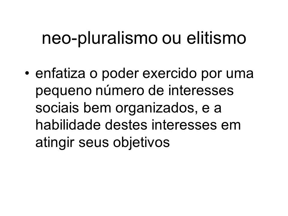 neo-pluralismo ou elitismo
