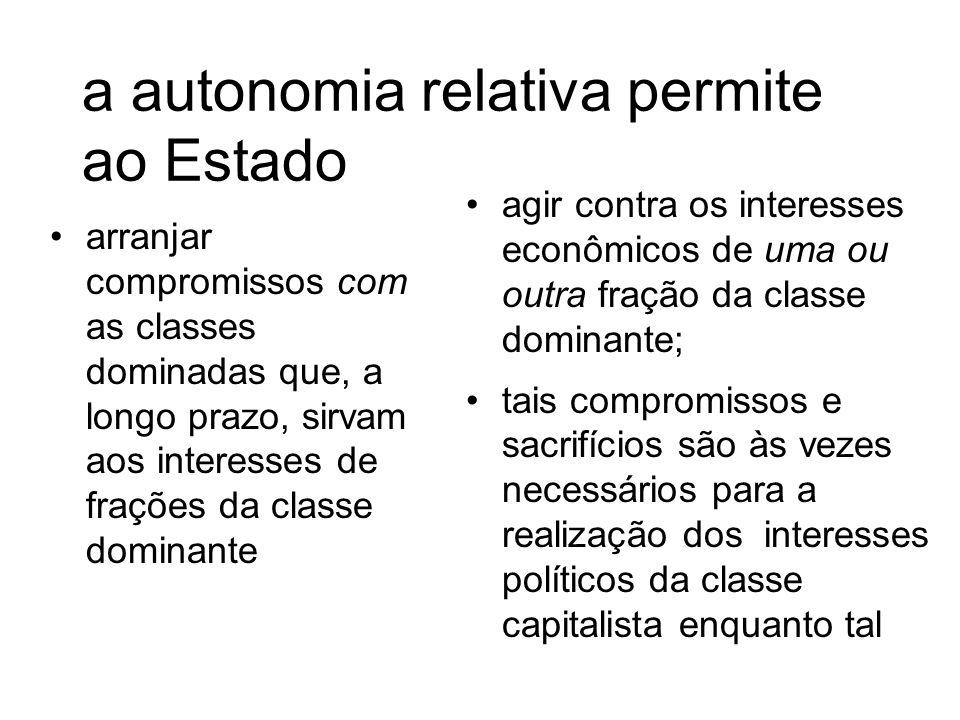 a autonomia relativa permite ao Estado