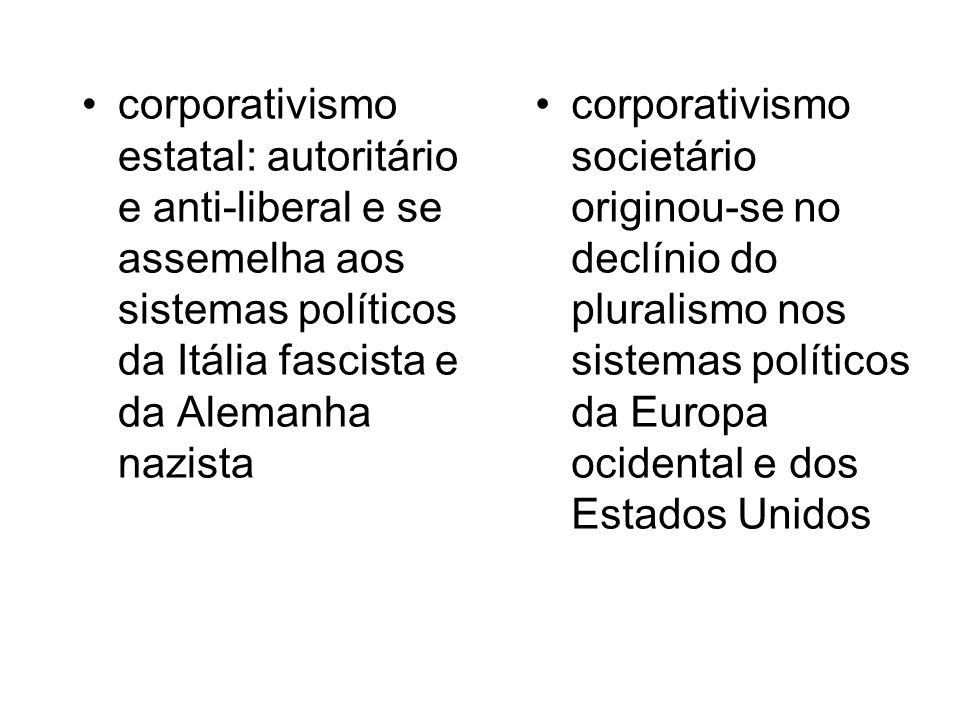 corporativismo estatal: autoritário e anti-liberal e se assemelha aos sistemas políticos da Itália fascista e da Alemanha nazista