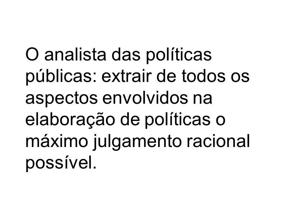 O analista das políticas públicas: extrair de todos os aspectos envolvidos na elaboração de políticas o máximo julgamento racional possível.