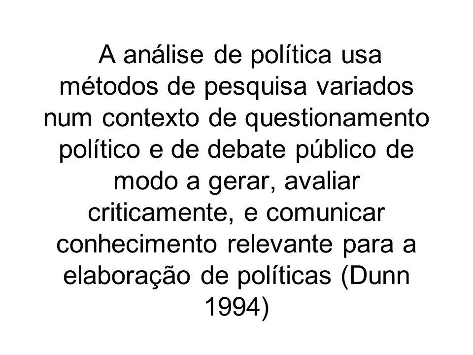 A análise de política usa métodos de pesquisa variados num contexto de questionamento político e de debate público de modo a gerar, avaliar criticamente, e comunicar conhecimento relevante para a elaboração de políticas (Dunn 1994)