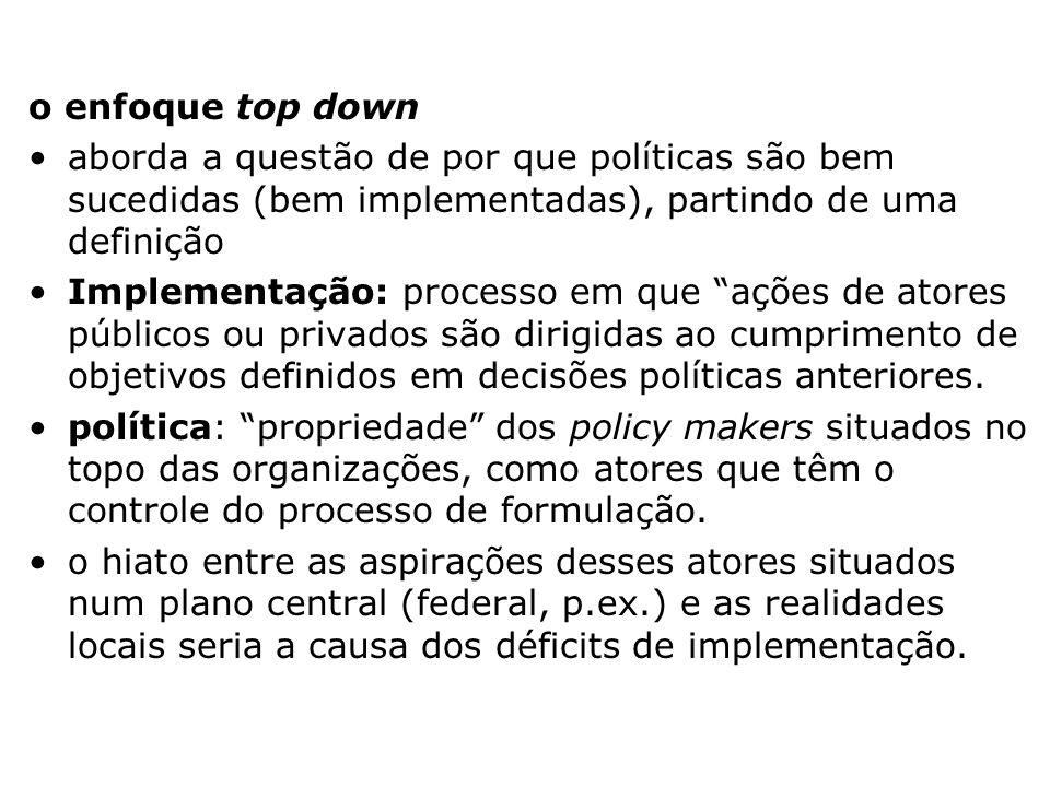 o enfoque top down aborda a questão de por que políticas são bem sucedidas (bem implementadas), partindo de uma definição.