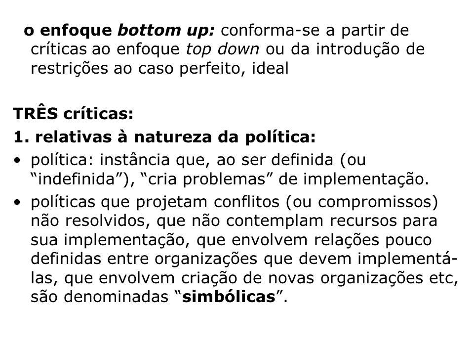 o enfoque bottom up: conforma-se a partir de críticas ao enfoque top down ou da introdução de restrições ao caso perfeito, ideal