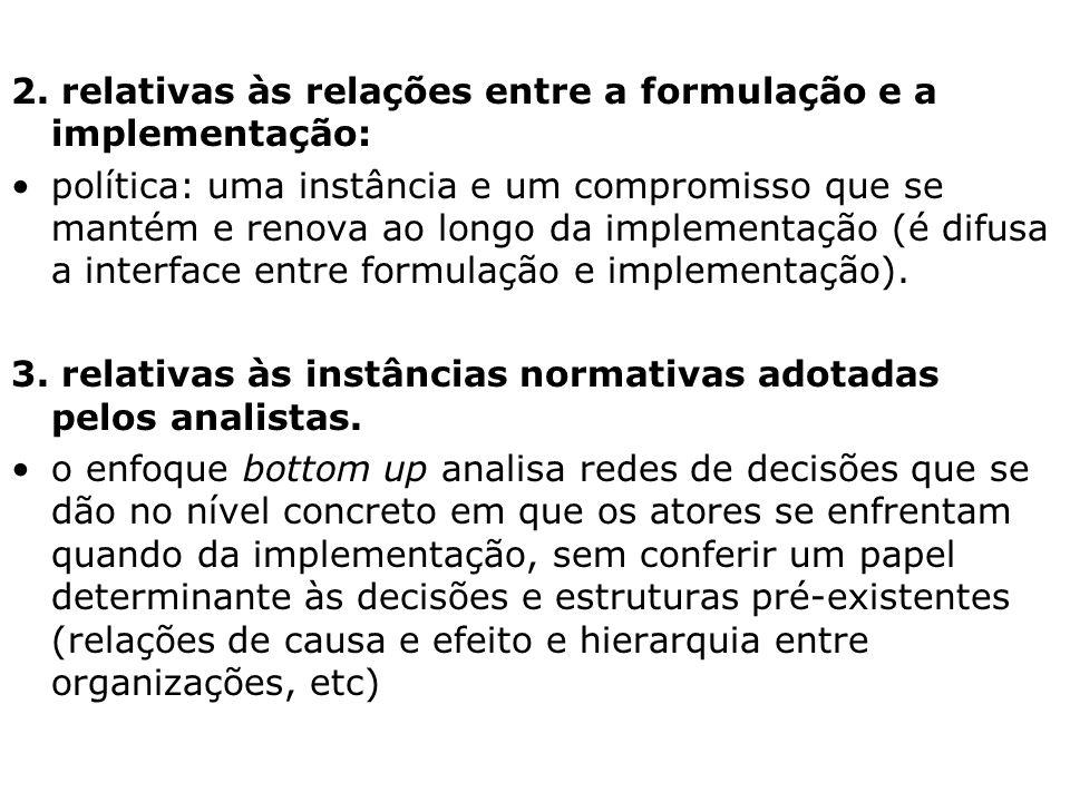 2. relativas às relações entre a formulação e a implementação: