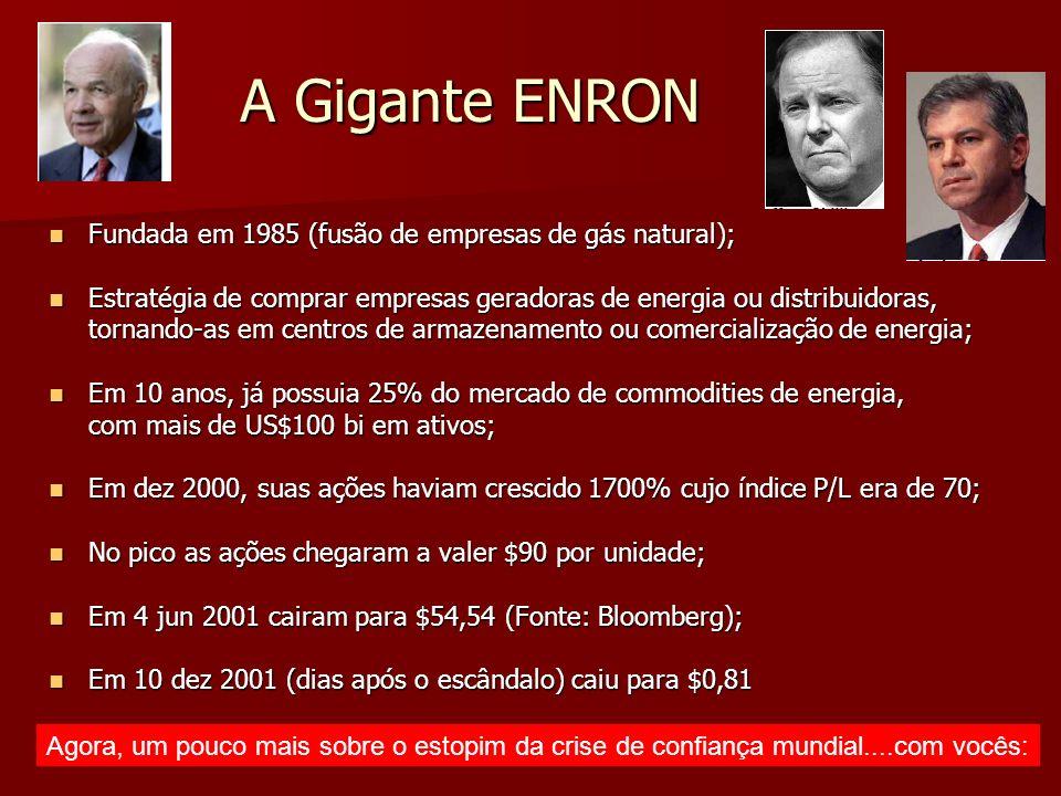 A Gigante ENRON Fundada em 1985 (fusão de empresas de gás natural);