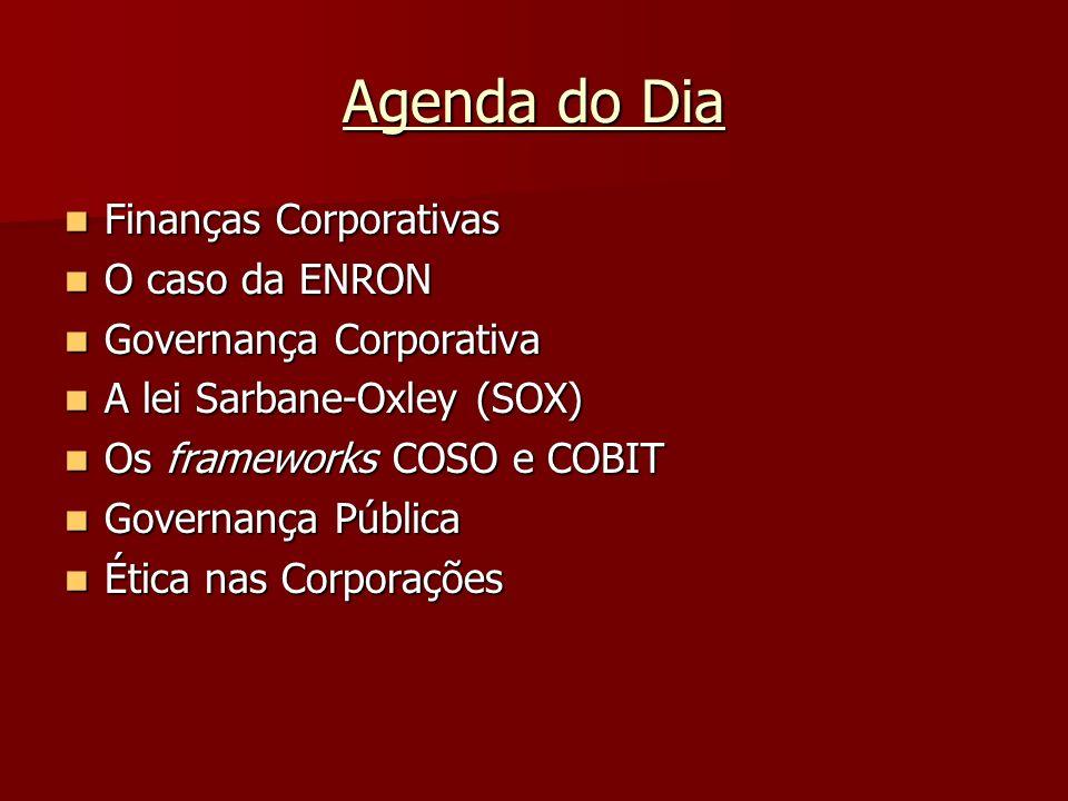 Agenda do Dia Finanças Corporativas O caso da ENRON