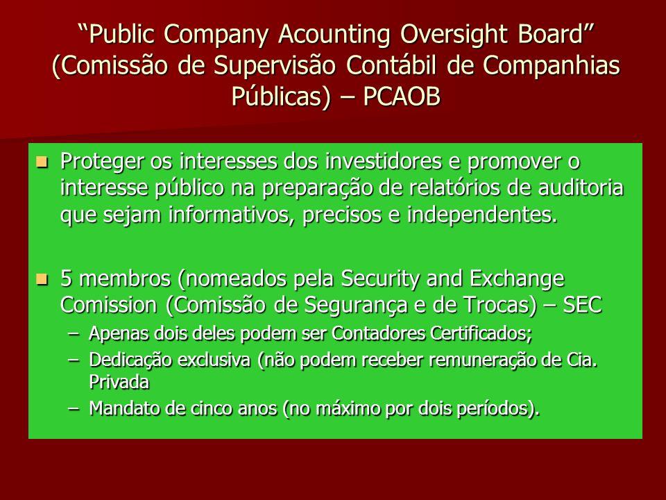 Public Company Acounting Oversight Board (Comissão de Supervisão Contábil de Companhias Públicas) – PCAOB