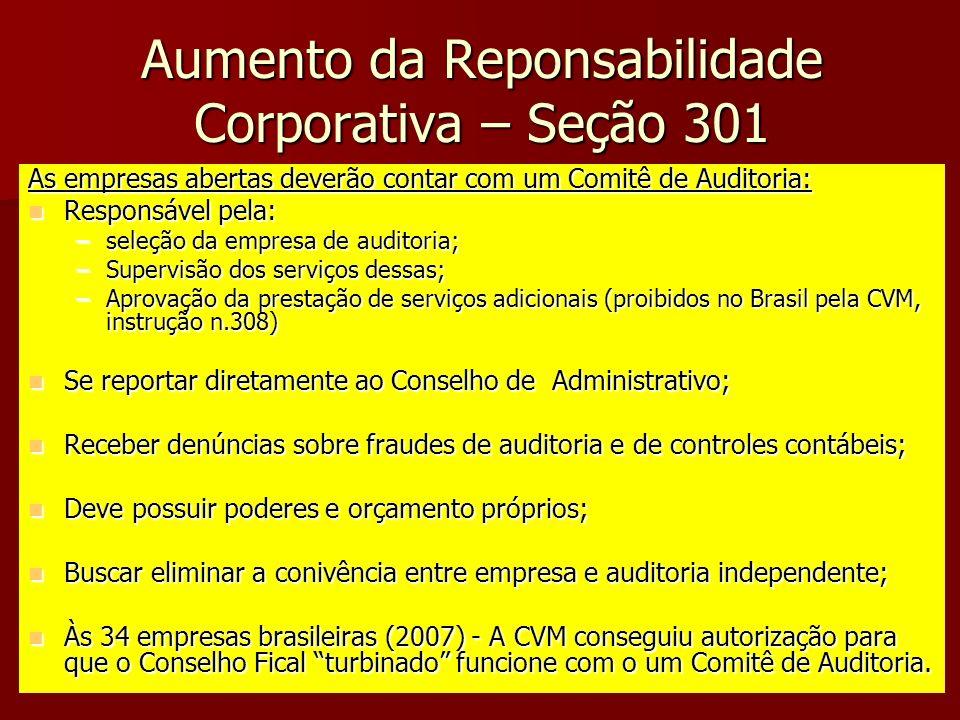 Aumento da Reponsabilidade Corporativa – Seção 301