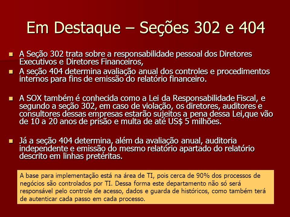 Em Destaque – Seções 302 e 404 A Seção 302 trata sobre a responsabilidade pessoal dos Diretores Executivos e Diretores Financeiros,