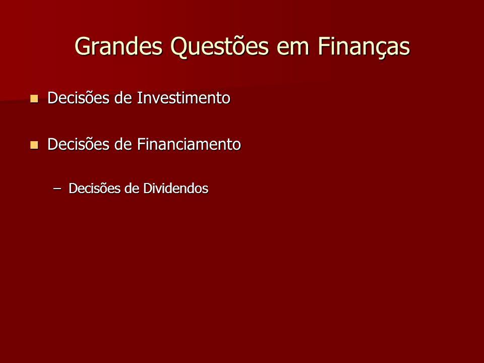Grandes Questões em Finanças