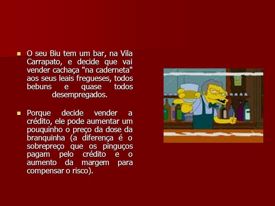O seu Biu tem um bar, na Vila Carrapato, e decide que vai vender cachaça na caderneta aos seus leais fregueses, todos bebuns e quase todos desempregados.