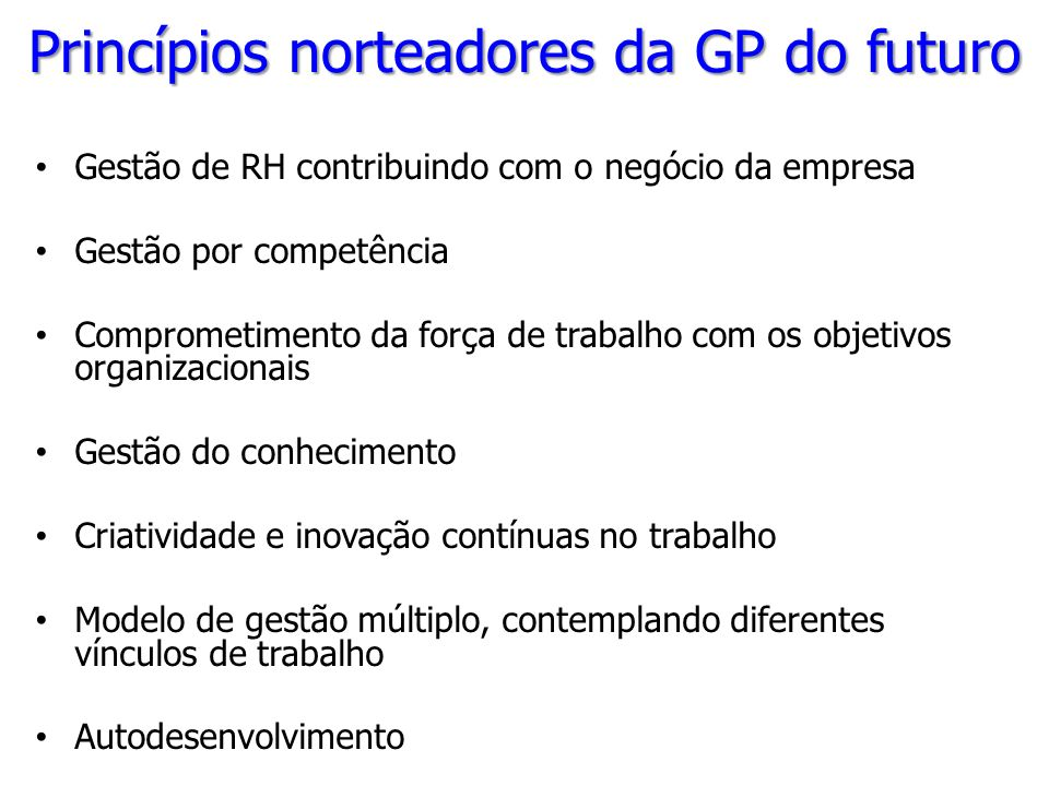 Princípios norteadores da GP do futuro