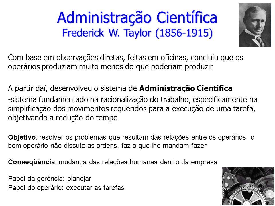Administração Científica Frederick W. Taylor (1856-1915)