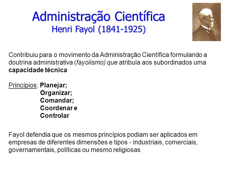 Administração Científica Henri Fayol (1841-1925)