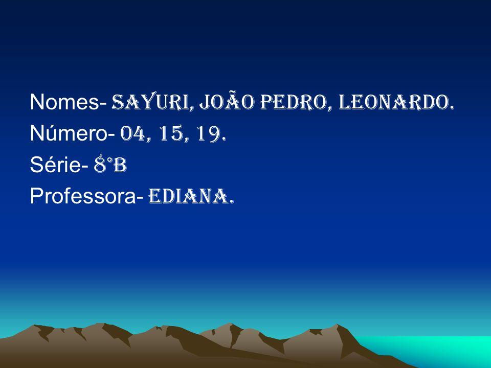 Nomes- Sayuri, João Pedro, Leonardo.