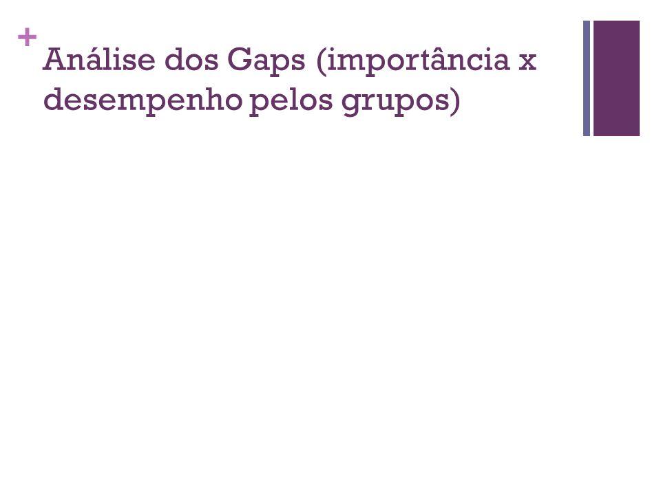 Análise dos Gaps (importância x desempenho pelos grupos)