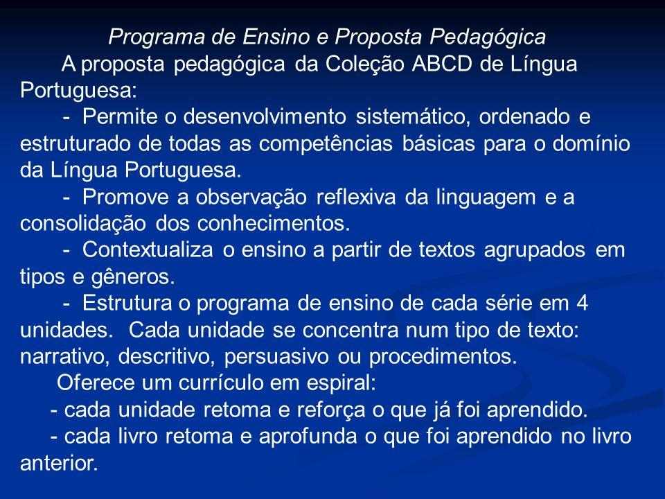 Programa de Ensino e Proposta Pedagógica