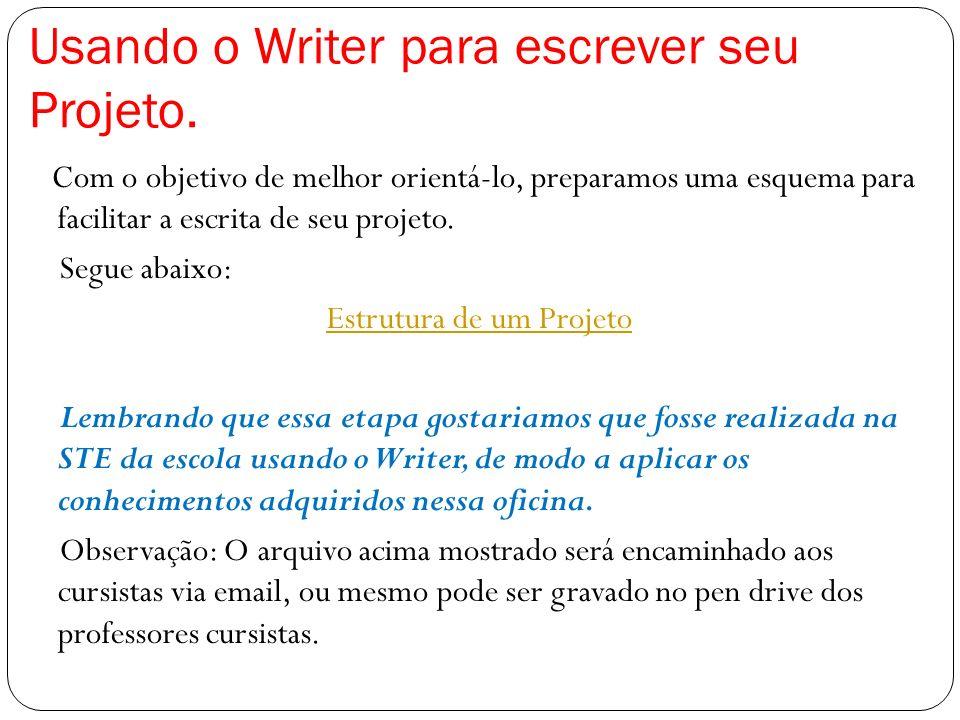 Usando o Writer para escrever seu Projeto.