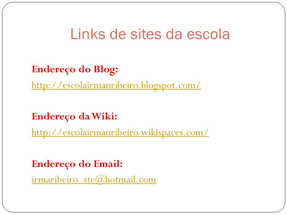 Links de sites da escola