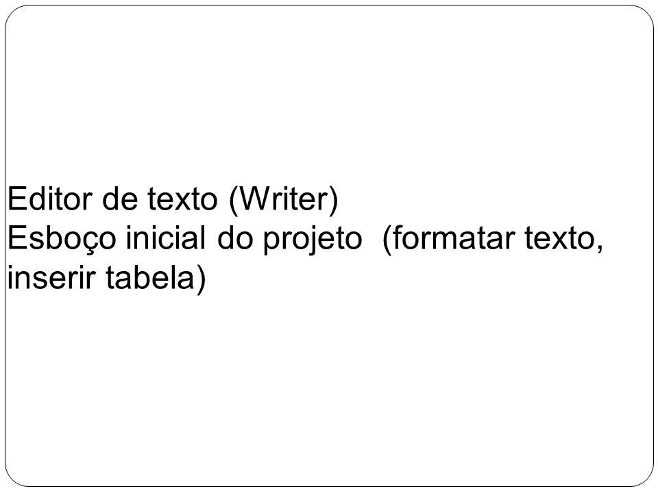 Editor de texto (Writer) Esboço inicial do projeto (formatar texto, inserir tabela)