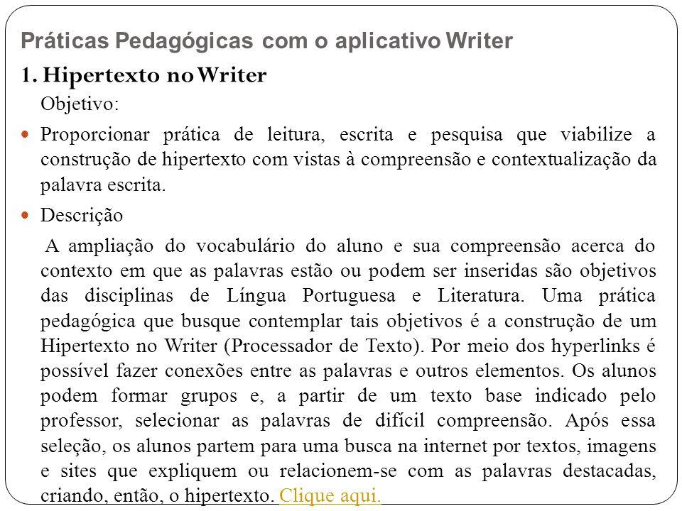 Práticas Pedagógicas com o aplicativo Writer