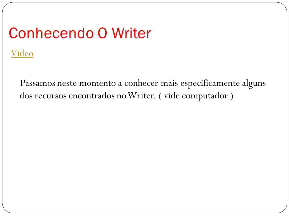 Conhecendo O WriterVídeo Passamos neste momento a conhecer mais especificamente alguns dos recursos encontrados no Writer.